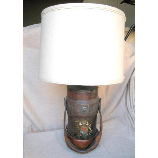 Vintage Leather Fire Bucket Lamp For Sale In Los Angeles - Image 6 of 7