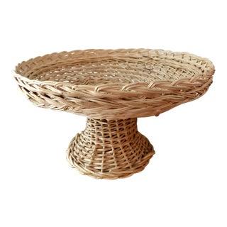 Vintage Natural Woven Wicker Rattan Compote Pedestal Basket For Sale