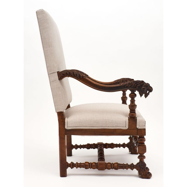 White Louis XIII Style French Armchairs For Sale - Image 8 of 10