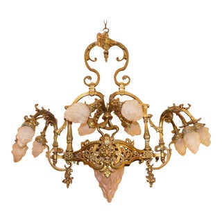 Solid Brass French Art Nouveau Chandelier With Torch Flame Shades For Sale
