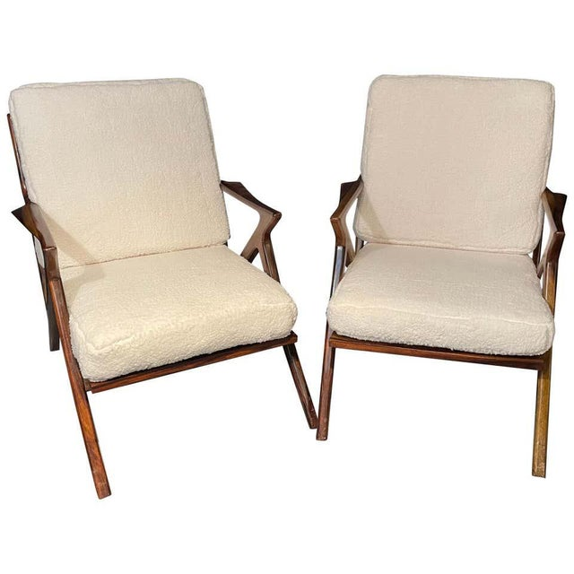 Mid-Century Modern Rosewood or Walnut Armchairs Sherpa, Upholstered - a Pair For Sale - Image 10 of 10