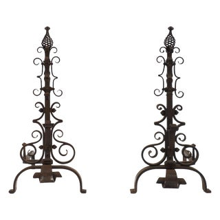 French Vintage Gilbert Poillerat Andirons - A Pair For Sale