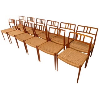 Teak Niels Møller Danish Cord Chairs - Set of 12 For Sale