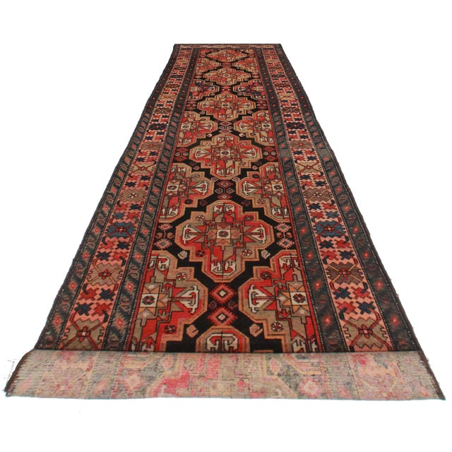Vintage Hand Knotted Wool Persian Malayer Runner. Geometric design.