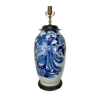 Late 19th Century Chinese Celadon Blue and White Table Lamp For Sale