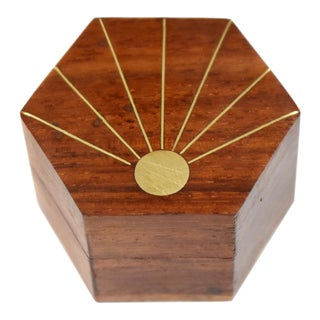 Mid 20th Century Vintage Hand Made Inlaid Brass Wooden Hexagon Box For Sale