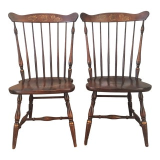 Late 20th Century L. Hitchcock Maple Harvest Dining Chairs - A Pair For Sale