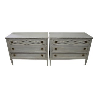 20th Century Gutavian X Shape Front Carving Bedside Chests - a Pair