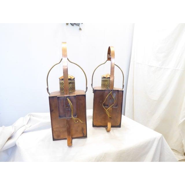 American Vintage Copper Lantern Sconces - a Pair For Sale - Image 3 of 8