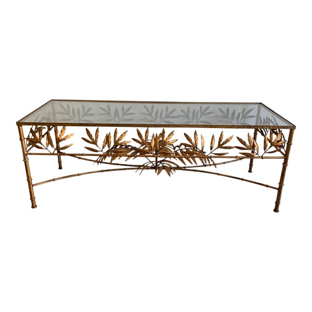 Vintage Hollywood Regency Gilded Metal Coffee Table W/Bamboo Leaf Design & Glass Top For Sale