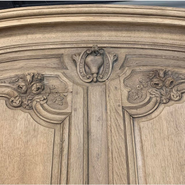 Mid 19th Century 19th Century Country French Normandy Stripped Oak Armoire For Sale - Image 5 of 13