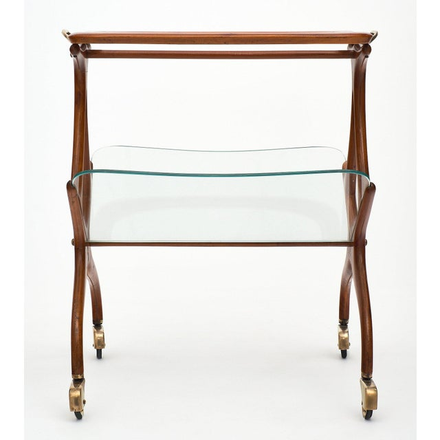 Brown Italian Modernist Magazine/Bar Cart by Cesare Lacca For Sale - Image 8 of 11