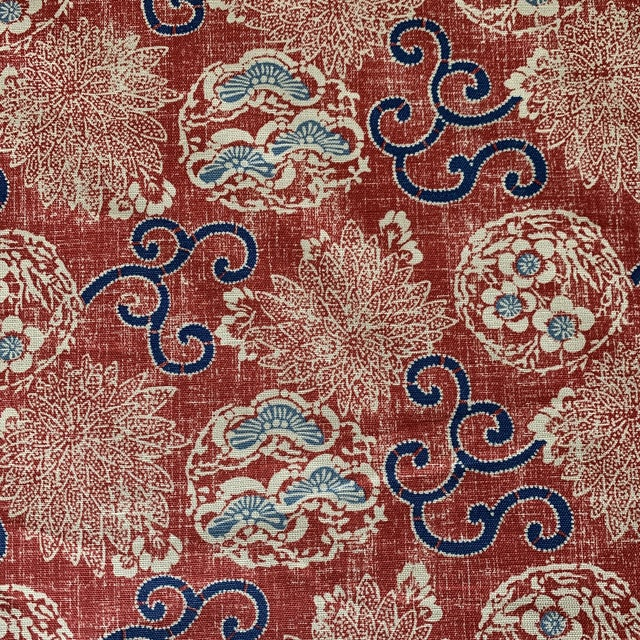 Textile Quadrille Burger Red and Blue Hand Print Faerie Linen Fabric- 7 1/2 Yards For Sale - Image 7 of 7