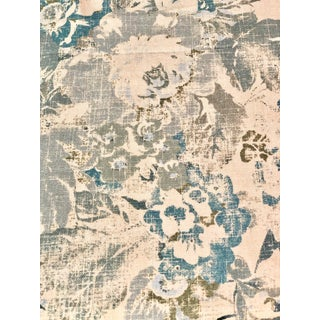 "Ralph Lauren Home's ""Brianna Floral"" Fabric Cotton & Linen Blend in Blue, 10.5 Yards For Sale"