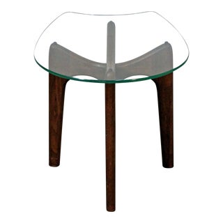 Mid-Century Danish Modern Adrian Pearsall 'Stingray' Glass Top End/Side Table For Sale
