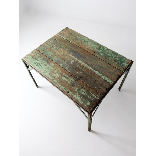 Green Vintage Wood Top Work Table For Sale - Image 8 of 11