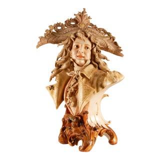 Late 19th Century Art Nouveau Porcelain Sculpture Bust For Sale