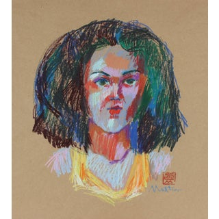 Rip Matteson Fauvist Pastel Portrait, 20th Century For Sale