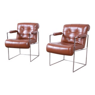 Milo Baughman for Thayer Coggin Leather and Chrome Lounge Chairs, Pair For Sale