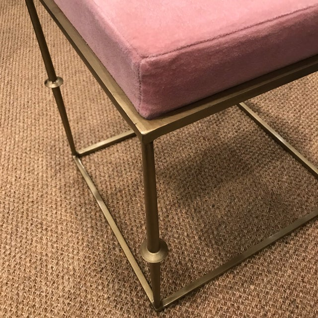 Modern Pretty in Pink Stool With Brass Metal Base For Sale - Image 4 of 6