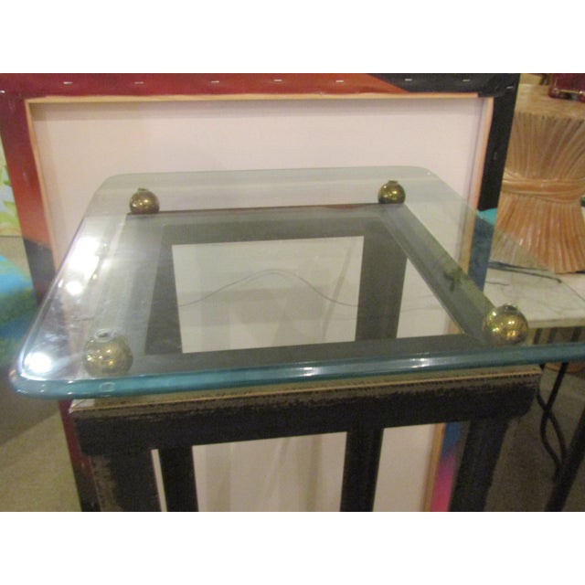 Brushed Steel Glass Topped Accent Table - Image 2 of 4