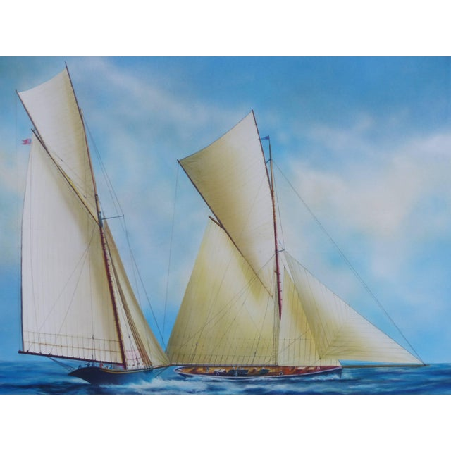 """Argentine Artist Gabriel Duarte Nautical Painting """"New Bounty"""" An original painting of sailboats titled """"New Bounty""""..."""