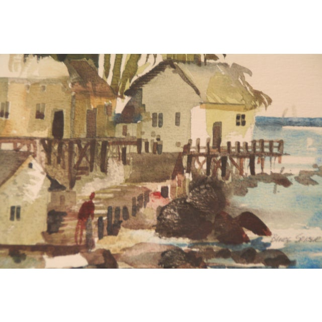 Original Bruce Spicer Vintage Coastal Watercolor Painting - Image 4 of 9
