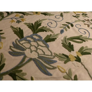 Antique Tea Stained Cotton Background Wool Embroidery For Sale