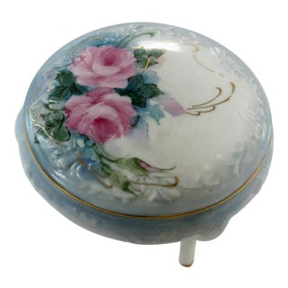 Vintage Hand Painted Rose Dresser Ring Box For Sale