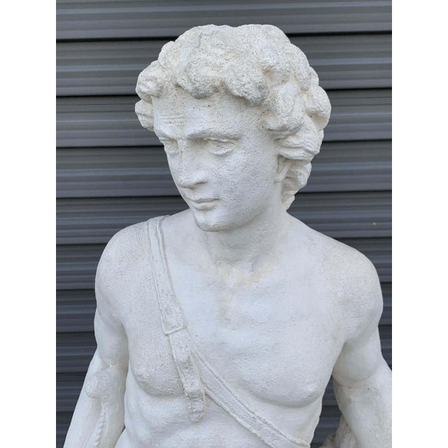 Pair of Vintage Cast Stone Statues of Apollo & Diana For Sale - Image 4 of 11
