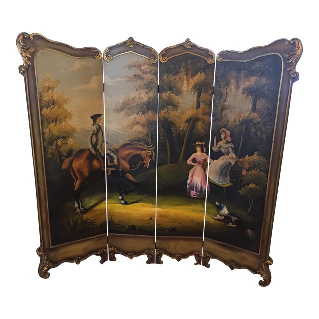 Hand Painted Colonial Scene Divider Screen For Sale
