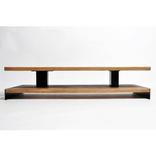 Modern Oak Wood Coffee Table With Metal Trim Preview