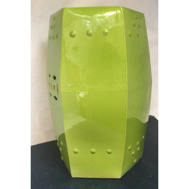 Green Asian Style Chartreuse Garden Stool For Sale - Image 8 of 10