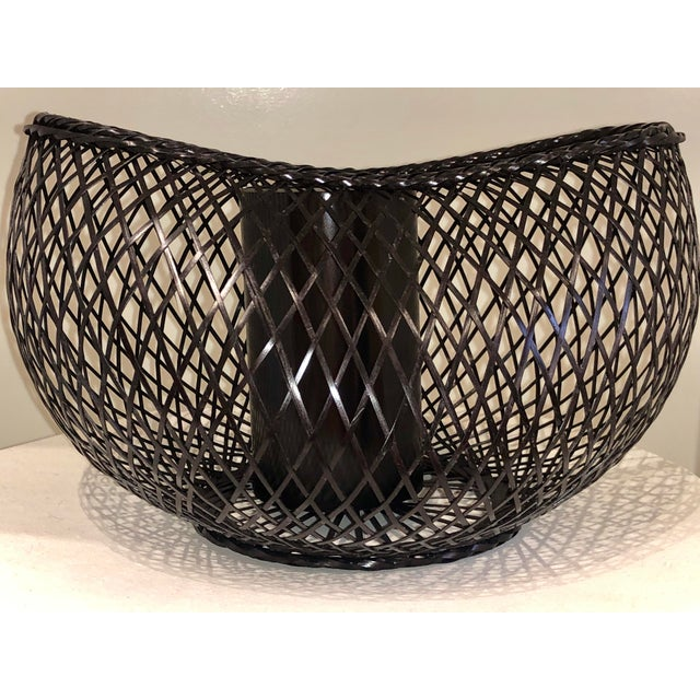 2010s Japanese Style Bamboo Basket For Sale - Image 5 of 5