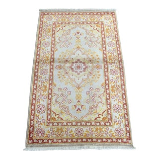 Silk on Cotton Rug - 2′11″ × 4′8″ For Sale