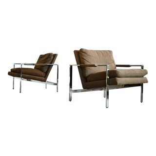 Milo Baughman Chrome Lounge Chairs for Thayer Coggin - a Pair For Sale