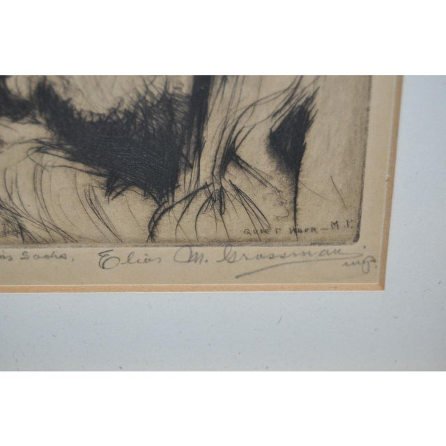 "Elias Grossman ""Quite Hour"" Etching c.1934 Fine etching by listed artist Elias Grossman (1898-1947) Inscribed to ""Dr...."