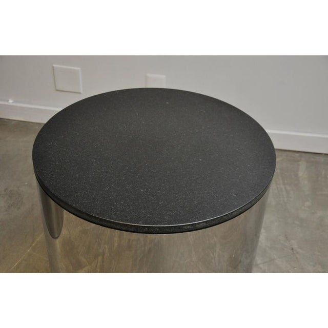 Mid-Century Modern Paul Mayan Stainless and Black Granite Side Tables For Sale - Image 3 of 5