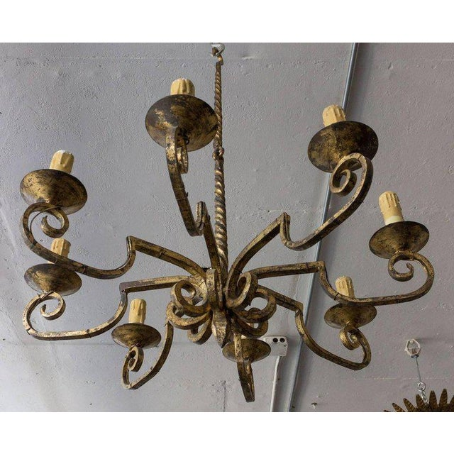 Unusual Spanish 19th Century Eight-armed Chandelier With Twisted Metal Stem For Sale - Image 9 of 10