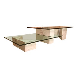 Mid-Century Modern Multi-Level Marble and Glass Coffee Table For Sale