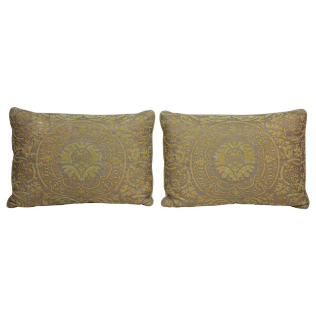 Pair of pillows covered in green and grey Fortuny silk and backed with natural linen. Individually priced at $475....
