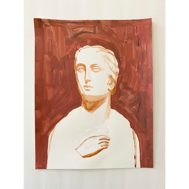 Ancient Roman Woman Sculpture Painting, Acrylic on Paper For Sale - Image 9 of 9