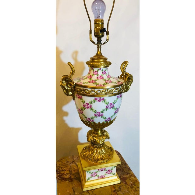 White French Table Lamp Trellis Floral Porcelain Urn With Rams Head Gilt Bronze Mounts For Sale - Image 8 of 13