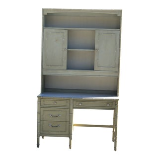 Vintage Thomasville Allegro Faux Bamboo Desk and Hutch For Sale