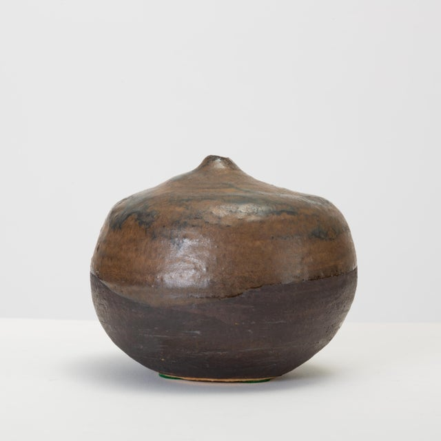 Brown and Black Glazed Studio Pottery Weed Pot by Sakamoto For Sale - Image 4 of 11
