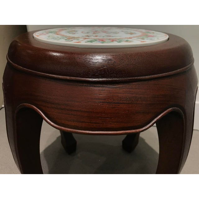 Chestnut Curved Wood Stool With Porcelain Inset For Sale - Image 8 of 13