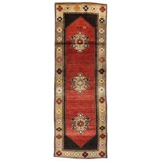Vintage Turkish Oushak Carpet Runner with Mid-Century Modern Style