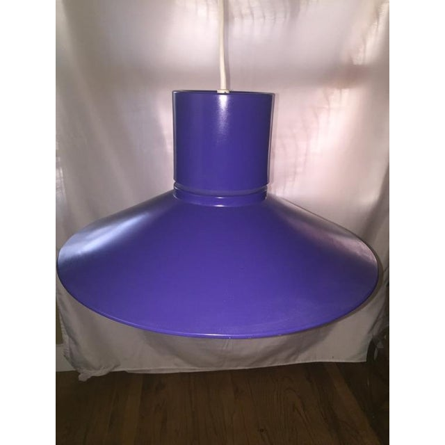 Blue 1960s Danish Modern Bright Blue Lightolier Hanging Pendant Lamp (2 Available) For Sale - Image 8 of 9