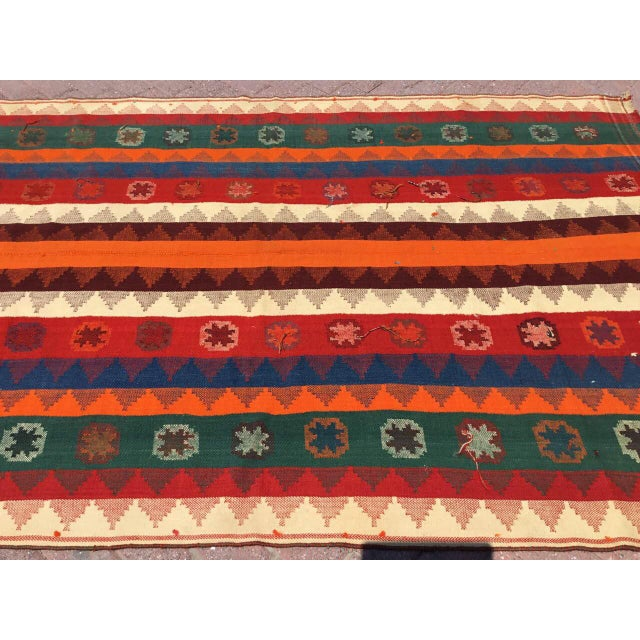 Art Deco Colorful Vintage Kilim Rug For Sale - Image 3 of 10