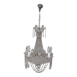 Italian Beaded Crystal Basket Silver Chandelier For Sale